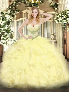 Dazzling Beading and Ruffles Quinceanera Dress Yellow Lace Up Sleeveless Floor Length