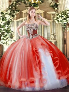 Ideal Strapless Sleeveless 15 Quinceanera Dress Floor Length Beading and Ruffles Coral Red Tulle
