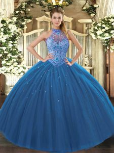 Popular Navy Blue Quinceanera Gown Sweet 16 and Quinceanera with Beading and Embroidery Halter Top Sleeveless Lace Up