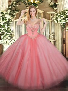 Delicate Floor Length Lace Up Quinceanera Dresses Watermelon Red for Military Ball and Sweet 16 and Quinceanera with Beading