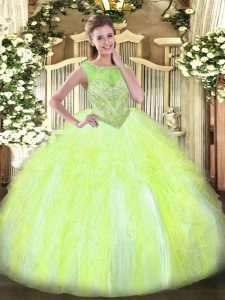 Yellow Green Sleeveless Floor Length Beading and Ruffles Lace Up 15th Birthday Dress