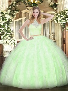 Suitable Floor Length Zipper 15 Quinceanera Dress Yellow Green for Military Ball and Sweet 16 and Quinceanera with Lace and Ruffles