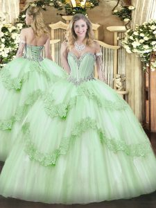 ed5c9cd6b5c Apple Green Ball Gowns Sweetheart Sleeveless Tulle Floor Length Lace Up  Beading and Appliques Ball Gown