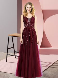 Burgundy Prom Evening Gown Prom and Party with Beading and Appliques Square Sleeveless Backless