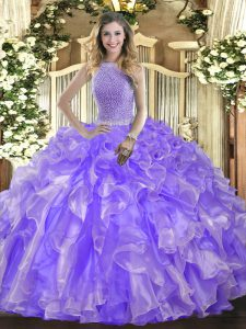 Discount Organza Sleeveless Floor Length Sweet 16 Dress and Beading and Ruffles