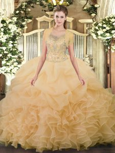 Trendy Champagne Tulle Clasp Handle Scoop Sleeveless Floor Length 15 Quinceanera Dress Beading and Ruffled Layers