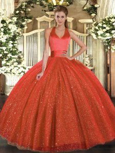 Custom Designed Rust Red Halter Top Lace Up Sequins Quinceanera Gown Sleeveless