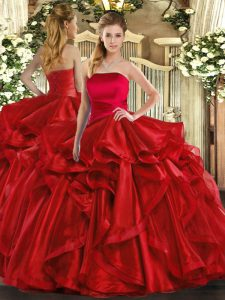 Elegant Red Quinceanera Gowns Military Ball and Sweet 16 and Quinceanera with Ruffles Strapless Sleeveless Lace Up