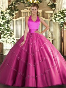 Sleeveless Floor Length Appliques Lace Up Sweet 16 Dress with Hot Pink