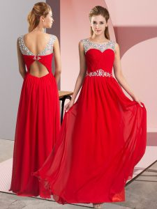 Floor Length Red Prom Party Dress Scoop Sleeveless Clasp Handle