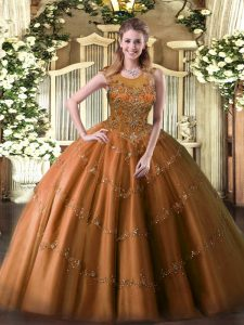 Modest Sleeveless Tulle Floor Length Zipper Quinceanera Dress in Rust Red with Beading and Appliques