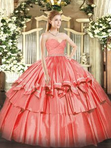 Flare Sweetheart Sleeveless Quinceanera Dresses Floor Length Beading and Lace and Ruffled Layers Watermelon Red Organza