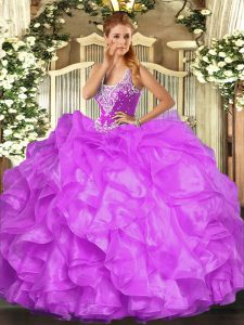 Lilac Lace Up Straps Beading and Ruffles Sweet 16 Quinceanera Dress Organza Sleeveless