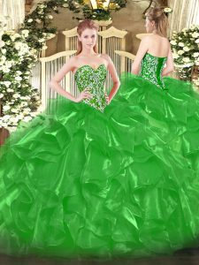 Green Ball Gowns Sweetheart Sleeveless Organza Floor Length Lace Up Beading and Ruffles Juniors Party Dress