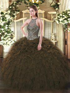New Arrival Sleeveless Beading and Ruffles Lace Up Sweet 16 Quinceanera Dress