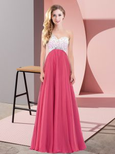 Coral Red Sleeveless Floor Length Beading Criss Cross