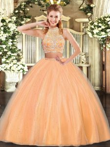 Deluxe Orange Red Quinceanera Gowns Military Ball and Sweet 16 and Quinceanera with Beading Halter Top Sleeveless Criss Cross