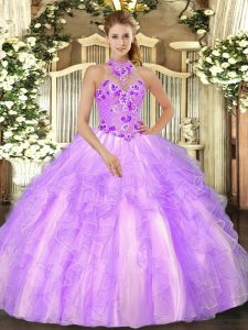 Admirable Lilac Organza Lace Up Halter Top Sleeveless Floor Length Sweet 16 Quinceanera Dress Embroidery