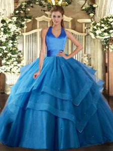 Blue 15th Birthday Dress Military Ball and Sweet 16 and Quinceanera with Ruffled Layers Halter Top Sleeveless Lace Up