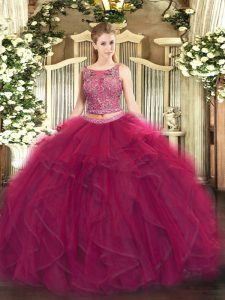 Fuchsia Sleeveless Beading and Ruffles Floor Length Quinceanera Gowns