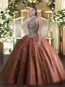 Tulle Halter Top Sleeveless Lace Up Beading Vestidos de Quinceanera in Chocolate