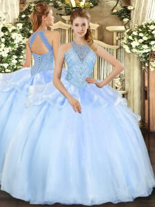 Simple Sleeveless Lace Up Floor Length Beading Quinceanera Gown