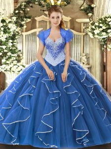 Blue Cap Sleeves Beading Floor Length Ball Gown Prom Dress