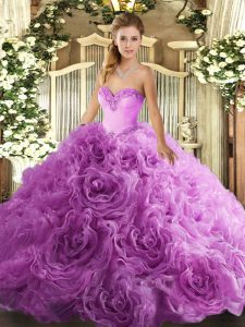 Lilac Fabric With Rolling Flowers Lace Up Sweetheart Sleeveless Floor Length Quinceanera Gowns Beading