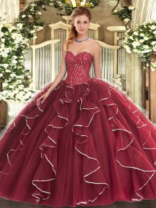 Ball Gowns Quinceanera Gowns Burgundy Sweetheart Tulle Sleeveless Floor Length Lace Up