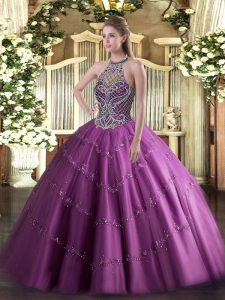 Luxurious Lilac Lace Up Halter Top Beading Quinceanera Gowns Tulle Sleeveless
