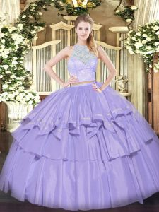 Lavender Sleeveless Lace and Ruffled Layers Floor Length Vestidos de Quinceanera
