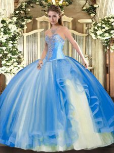 Floor Length Baby Blue Quinceanera Gowns Sweetheart Sleeveless Lace Up