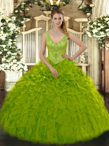 Extravagant Olive Green Sleeveless Organza Zipper 15th Birthday Dress for Military Ball and Sweet 16 and Quinceanera