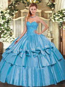New Style Sleeveless Lace Up Floor Length Beading and Ruffled Layers Quinceanera Gown