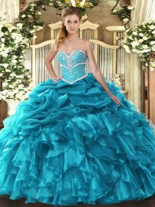 Hot Selling Teal Sweet 16 Quinceanera Dress Military Ball and Sweet 16 and Quinceanera with Beading and Ruffles and Pick Ups Sweetheart Sleeveless Lace Up