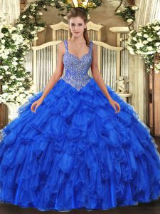 Royal Blue Straps Lace Up Beading and Ruffles Vestidos de Quinceanera Sleeveless
