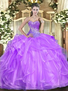Smart Ball Gowns Sweet 16 Dresses Lilac Sweetheart Organza Sleeveless Floor Length Lace Up
