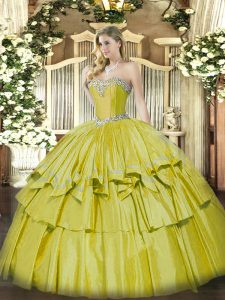 Sweet Yellow Ball Gowns Beading and Ruffled Layers Quinceanera Gown Lace Up Organza and Taffeta Sleeveless Floor Length