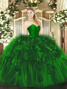 Sweetheart Sleeveless Organza and Tulle Quinceanera Dress Ruffles Lace Up