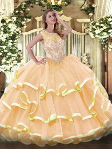 Artistic Floor Length Ball Gowns Sleeveless Peach Quinceanera Gown Zipper