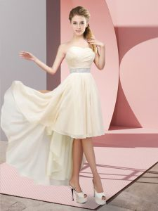 Sweetheart Sleeveless Prom Dresses High Low Beading Champagne Chiffon