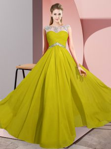 Stylish Floor Length Yellow Prom Party Dress Scoop Sleeveless Clasp Handle
