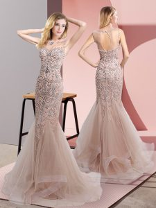 Glamorous Scoop Sleeveless Prom Evening Gown Sweep Train Beading and Ruffles Champagne Tulle