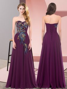Romantic Dark Purple Lace Up Dress for Prom Embroidery Sleeveless Floor Length