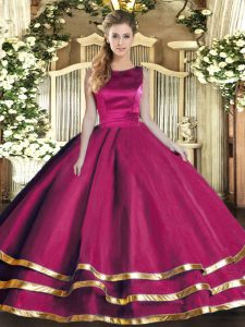 Smart Ruffled Layers Ball Gown Prom Dress Fuchsia Lace Up Sleeveless Floor Length