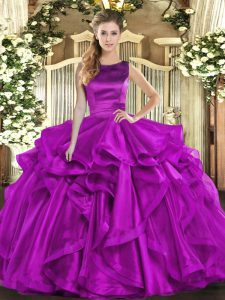 Purple Ball Gowns Scoop Sleeveless Organza Floor Length Lace Up Ruffles Quince Ball Gowns