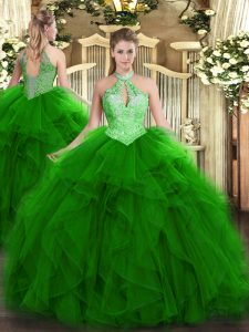 Custom Fit Halter Top Sleeveless Organza Sweet 16 Dresses Ruffles and Sequins Lace Up