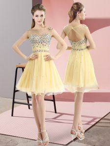 High Class Tulle Sleeveless Mini Length Prom Dress and Beading