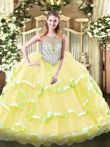 Latest Yellow Green and Light Yellow Ball Gowns Beading and Ruffled Layers 15 Quinceanera Dress Zipper Organza Sleeveless Floor Length