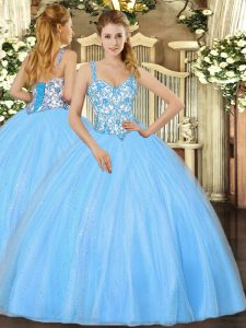 Baby Blue Sleeveless Organza Lace Up Quinceanera Dress for Sweet 16 and Quinceanera